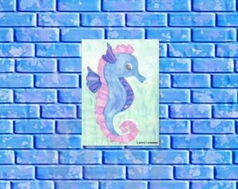 Instant download, original watercolor blue seahorse illustration