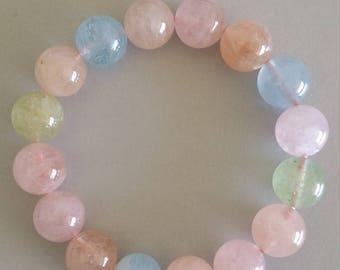 Morganite Bracelet with Aquamarine (12.5mm Round Beads)