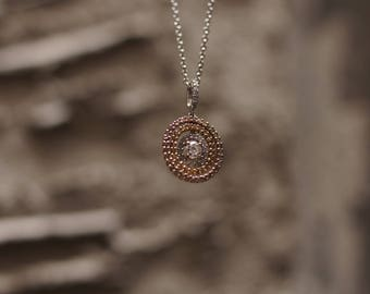 Tri Color Diamond Pendant Necklace