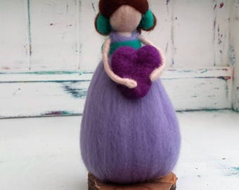 Needle Felted Fairy, Waldorf Inspired, Figure, Pink and Green figure, Heart, Angel, Ornament, Felted Fairytail Doll, Faerie, Fairie, Figure