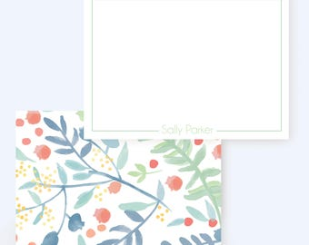 Watercolor Floral Stationary // Thank You Note // Personalized Note Cards