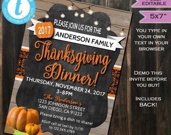 Thanksgiving Dinner Invitation - Friendsgiving Feast Party Invite - Potluck - Turkey Pumpkin Printable Custom DIY INSTANT Self EDITABLE 5x7