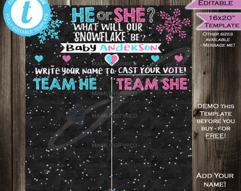 Snowflake Gender Reveal Sign Cast your Vote Board What will Baby Be Party Baby Shower He or She Chalkboard Personalize INSTANT Self EDITABLE