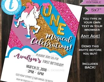 Unicorn Birthday Invitation One Magical Celebration First Birthday Invite 1st Birthday Template Custom Printable INSTANT Self EDITABLE 5x7
