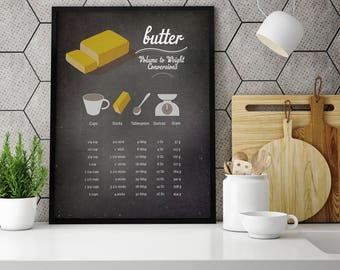 kitchen conversion chart, kitchen art print, kitchen conversion,Digital art prints,butter conversions table,kitchen conversion printable art