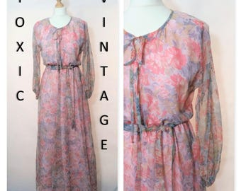 Sale! VINTAGE 1960's 1970's Pink Pastels Floaty FLORAL MAXI Dress. Size Uk 10-12. Boho, Hippie, Retro, Holiday, Vacation, Elegant, Chic