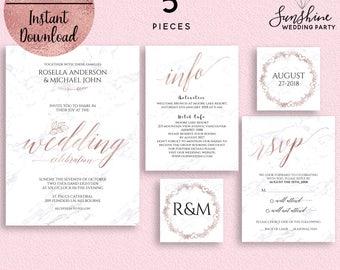 Marble Rose Gold Wedding Invitation Template, Printable Wedding Invitation Suite, 5x7 Wedding Invitation, Editable PDF, Digital Download