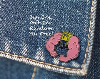 BUY 1, GET 1 Random Pin Free! SpongeBob Meme Enamel Pin MuscleBob BuffPants Lapel Pin Badge Spongebob Pin Soft Enamel Pin Funny Pin Cute Pin