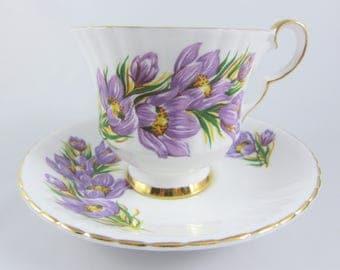 "Vintage Royal Windsor K's Purple Prairie Crocus Fine Bone China Cup and Saucer, ""Floral Emblem of Manitoba"" Pattern 2444/16. Made in England"