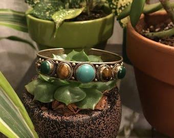 Silver Plated Multi-Colored Stone Cuff