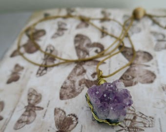 Amethyst Cluster Wire Wrapped Necklace