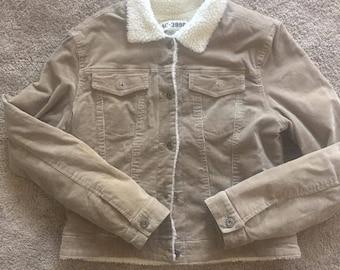 Vintage Tan Corduroy Jacket White Collar Access Jeans Women's Sz Large AC-3998