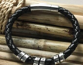 Personalized Men's Bracelet, Spinning, Coordinates Bracelet,  Anniversary,  Gift for Husband, Gift for Boyfriend, Gift for Fiance