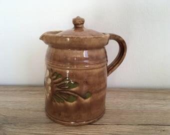 Vintage coffee pot, vintage teapot, pottery Coffee Pot, pottery Teapot-stoneware-ceramic teapot, farmhouse-primitive kitchen, German pottery
