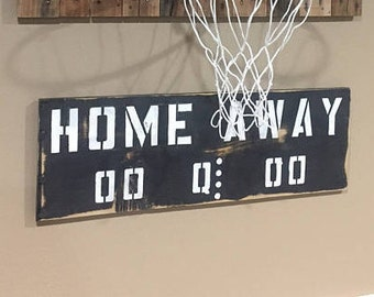 Scoreboard: Reclaimed pallet wood HOME - AWAY scoreboard sign. CUSTOMIZE w/ paint, stain colors. Wall mounting hardware inc.