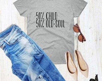 Child - Old Soul Grey Statement Women's T-shirt - Yoga Lover T-shirt - Meditation Tee