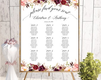 Wedding seating chart template, Wedding seating chart, wedding seating chart table, Wedding seating chart alphabet, Navy Seating chart, #140