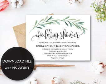 Wedding Shower Invitation, Fall Floral Bridal Shower Card, Couples Shower Invite, Editable Card Printable Instant Download Wedding Shower G1