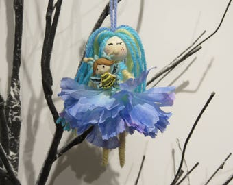 Blue Fairy Waldorf Doll, Princess Fairy Ornament, Flower Fairy Doll, Gift for Girls, miniature doll, Fairy Girl Figurine, flower fairy