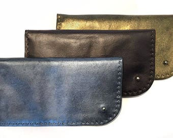 Leather Wallet, Large Wallet, Stud Wallet, Metallic Silver, Metallic Gold, Dark Chocolate Black