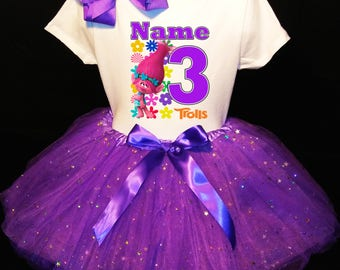 TROLLS***With NAME*** 3rd third 3 Birthday Dress   Fast Shipping Purple party Shirt & Tutu outfit Poppy Personalized