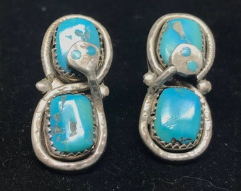 Vintage Old Pawn Sterling Silver Zuni Clip on Earrings with Turquoise MARKED