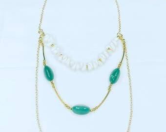 Fione layered long necklace with seashells green gemstones and gold chain