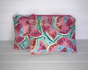 Handmade Zipper Pouch   Watermelon Fabric