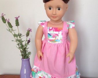 18 Inch Doll Clothes - Pink Halter Neck Maxi Dress with Owl print acents. Made to fit the American Girl Doll and the Our Generation Doll.