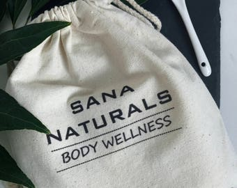 Sana Naturals Natural Cotton Pouch, Reusable Cotton Gift Pouch, Earth Friendly, Natural Skincare Gift Pack, Vegan Skin care, Bath and Beauty