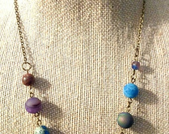 Planet Necklace, Solar System Necklace, Space Accessory, Statement Piece, Milky Way Galaxy, Sci Fi Fan Jewelry, Chain, Pluto, Asteroid