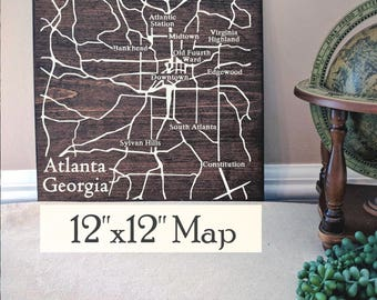 Atlanta Map, Large Wood Map, Atlanta City Map, Atlanta Wall Art, Atlanta Wood Map, Wall Art, Personalized Map, Custom City Map by Novel Maps
