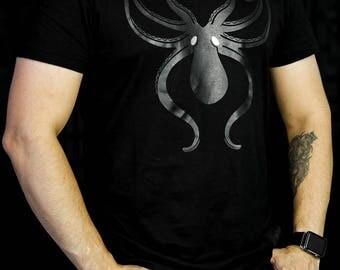 Men - Tentacles Black Silkscreen Print on a Black T-Shirt