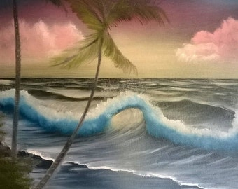 16x20 bob ross style  tropical landscape original oil painting