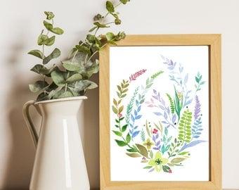 Botanical Print, Flowers Printable art, Flowers Watercolor Painting, Floral Art, Flowers Print, Hand Drawn, Fine Art, Nursery art, Wall art