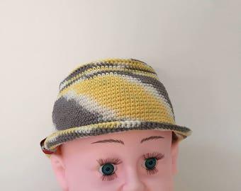 Hat for children, summer Hat 44-46 cm, 6-12 months, cotton crochet