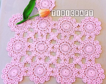 pink crochet table mats, placemat - doily