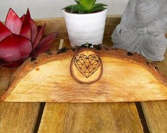 Soul slices heart geometric//wood necklace//vintage//Ethnoschmuck//Hippie//BOHO//Statement//Valentine's Day//anniversary//Love