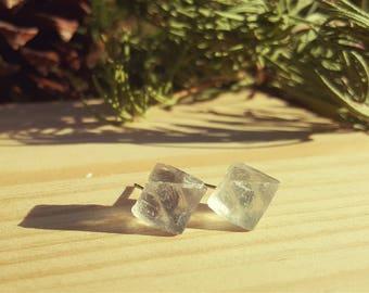 NOEL - Raw Fluorite Gemstone Earrings, Green Crystal Earrings, Pale Mint Green Studs, Healing Fluorite Crystals, Gift for Mom, Sister, Wife