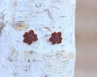 Handmade Purple Rosette Succulent Post Earrings