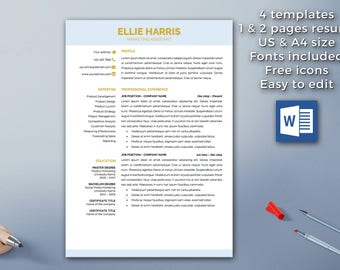 Resume template instant download | 1 & 2 pages  | Professional Resume Template |  Cover Letter | Functional Resume | Word | CV Design