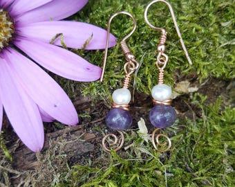 Amethyst & Fresh water pearl earrings Rose gold colour
