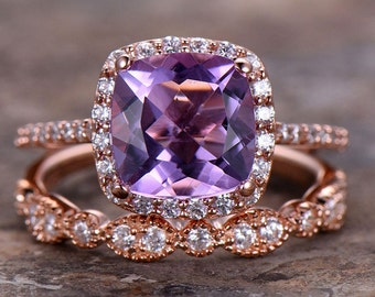 2pc 8mm Cushion Amethyst Engagement Ring Petite Rose Gold Plated 925 Sterling Silver CZ Bridal Ring Set Art Deco Matching Band Milgrain