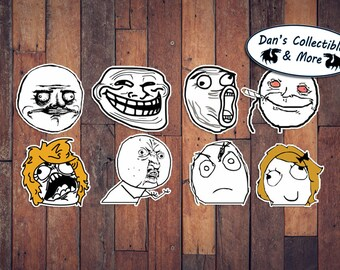 8x Rage Comics Troll Face Meme You Mad Bro Internet Quality Vinyl Stickers lol