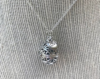 Oil Diffuser Necklace Lava Bead Round with Love Pendant Add On And Free Sample of doTerra Essential Oil
