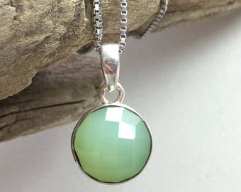 Faceted Green Chalcedony Sterling Silver Pendant / Untreated natural gemstone