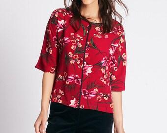Floral Print Kimono 3/4 Sleeve Blouse