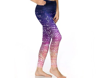 yoga leggings, be a mermaid, Purple Mermaid leggings, women's leggings, mermaid costume, mermaid pants, fish scale leggings, printed legging
