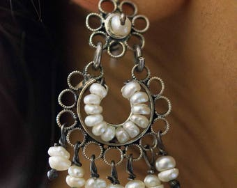"Mexican Filigrana Silver Earrings with freshwater pearls ""Medianos"" - handmade"