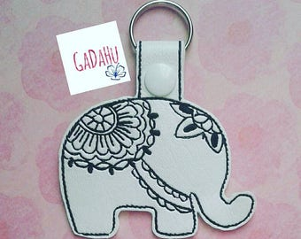 Elephant Mandala Key Fob Snap Tab Embroidery Design 4X4 size